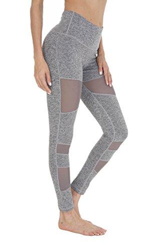QUEENIEKE Damen Power Tech Mesh Mittlere Taille Gym Yoga Leggings Laufhose Farbe Dunkelgrau Größe S
