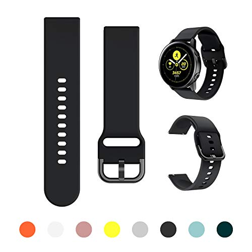 Minggo Band Compatible with Samsung Galaxy Watch Active/Active2 40mm/44mm,Silicone Sports Wristband Replacement Compatible for Galaxy Watch 42mm/Gear S2 Classic/Gear Sport Smart Watch (Black)
