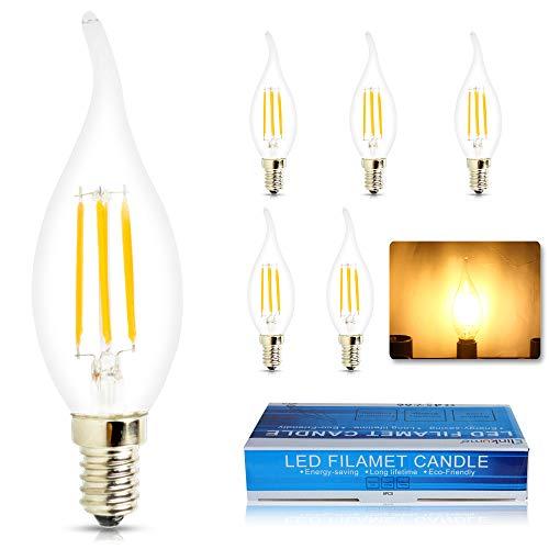 ELINKUME 6x Lampadina Candela LED a forma di Fiamma da (Attacco E14, 4Watt, 360 Lumen, Classe Efficienza Energetica A+, Colore Della Luce Bianco Caldo) (Fiamma)