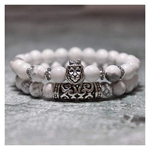 Pulsera de piedra, mujeres, 7 chakra perlas de piedra natural de magnesita blanca brazalete elástico plateado león animal joyería yoga energía pulseras encanto difusor mujeres Pulsera de piedra