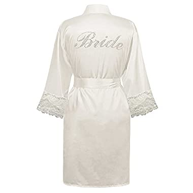 Swhiteme Bridal Robe with Rhinestones, Bride, Lace Trim, Large/X-Large, White