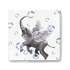 Elephant Wall Decor Modern Bathroom Decor Wall Art Framed Canvas Prints Size 14x14 print Easy to Hang for Bedroom Gray Elephant Play Colorful Bubble Pictures Art Work for Kids Room Wall Decorations