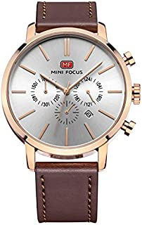 Mini Focus Mens Quartz Watch, Chronograph Display and Leather Strap - MF0023G.03