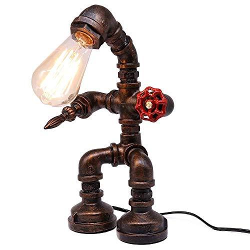 Vintage Industrial Tischlampe Steampunk Roboter Schreibtischlampe Rustikale Wasserrohr Schreibtischlampe(Ohne Glühbirne)