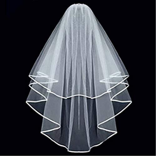 ZiYan White Double Ribbon Edge Center Cascade Bridal Wedding Veil with Comb