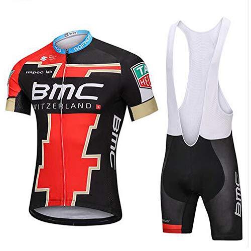 Filws Sommer-Fahrradanzug für Herren, kurze Ärmel, Sommer-Radbekleidung, kurze Ärmel und Culotte, Set mit 5D-Gel-Polsterung, schnell trocknend (S-XXXL) XX-Small BMC