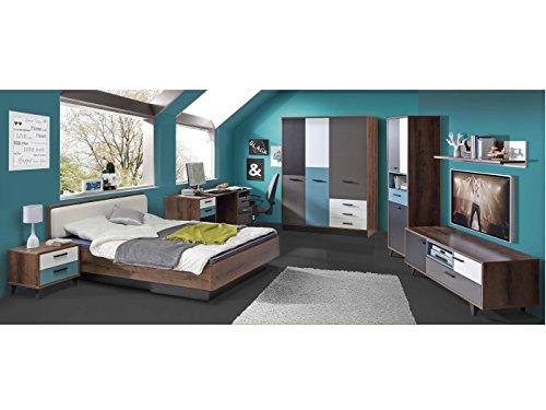 Jugendzimmer Raven Komplett Verschiedene Ausführungen Kinderzimmer Möbel (Zimmer Raven 7 TLG 140er Bett, Drehtürenschrank)