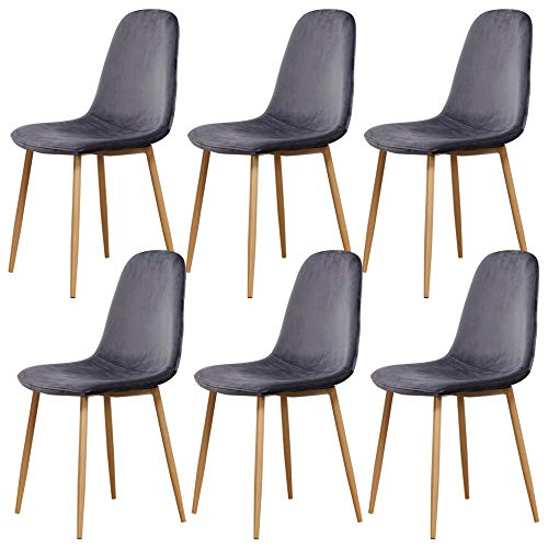 SHOWVISION Modern Velvet Kitchen Chair Set of 2 4 6, Fabric Upholstered Cushion Seat and Oak Painted Metal Legs, Small Home Dinette Cafe Shop Restaurant Bistro Dining Chairs (6 Chairs, Grey)