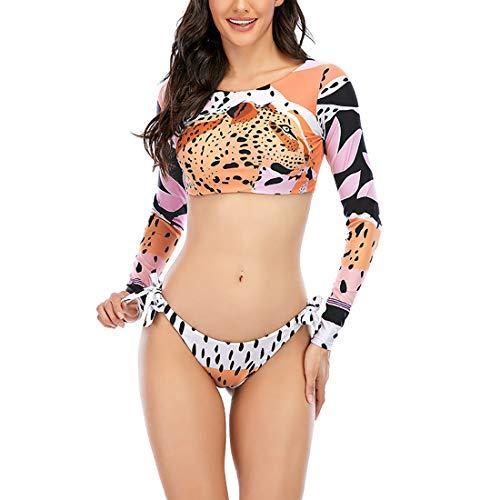 GYUANLAI Trajes De Baño De Dos Piezas para Mujer Bikini Dividido De Manga Larga Protección Solar Traje De Baño De Playa Traje De Baño con Tiras Conjuntos De Bikini para Mujer Conjunto Tankini