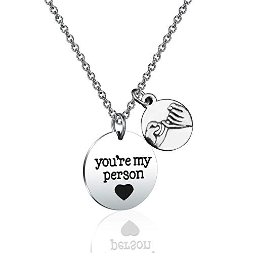 WUSUANED You're My Person Necklace Grey's Anatomy Inspired Coworker Birthday Gift Best Friend Necklace (You're my person)