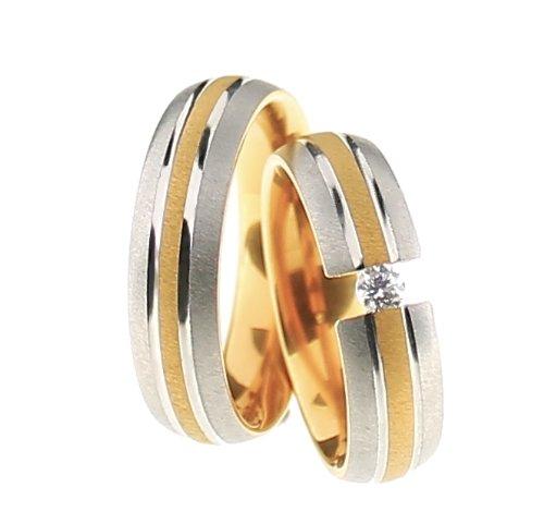 Trauringe Eheringe Titan-Gold Design mit Diamant ERG19BR25MGI