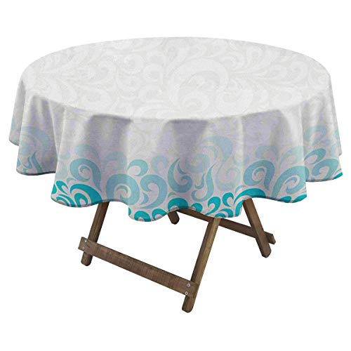Zara Henry Turquoise Printed Tablecloth Abstract Floral Flowers Pattern Classic Artistic Design Illustration Home Cotton Tablecloth D 60' Teal Turquoise White