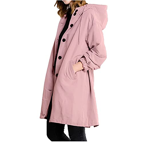 HRAPDA Rain Coats for Women Winter Autumn Going Out Active Warm Windproof Outdoor Lightweight Trenchcoat with Pockets Pink