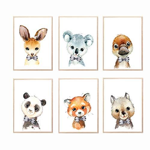 Láminas infantiles para cuadros decoración habitación bebé y dormitorio juvenil de niño o niña. Conjunto de 6 poster din a4 para enmarcar en la pared