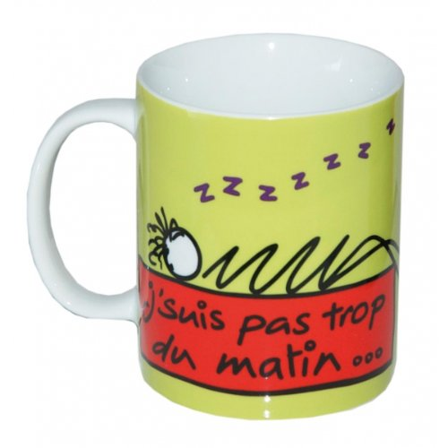 Incidence Paris 27897 MUG-Les kiffs-Vert anis, Porcelaine, 8x8x9,5 cm