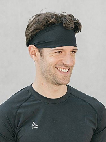 Temple Tape Headbands for Men and Women - Mens Sweatband & Sports Headband Moisture Wicking Workout Sweatbands for Running, Crossfit, Yoga and Bike Helmet Friendly - Black
