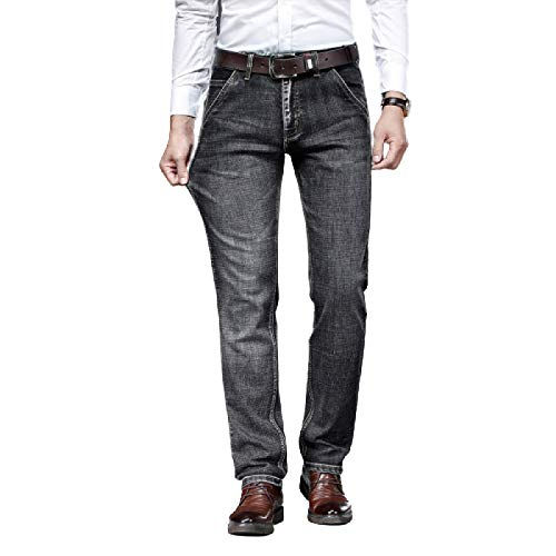 Generico Men's Jeans Autumn Simple Classic Business Straight Large Size Washed Solid Color Casual Trousers 35