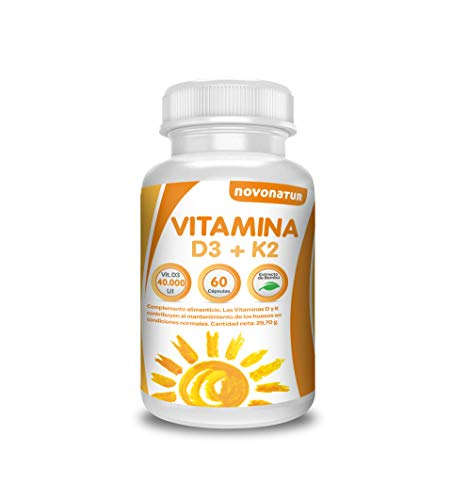 Vitamina D 3 y K2, 60 cápsulas multivitaminicas enriquecidas con extracto de bambú, concentración de 4.000 ui en una sola cápsula. Favorece el mantenimiento de los huesos.