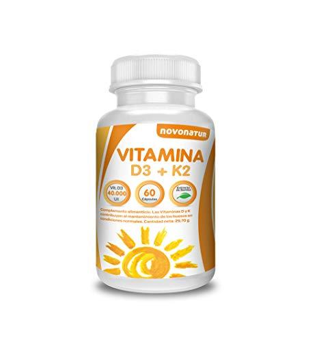 Vitamine D3 en K2, 60 multivitaminecapsules verrijkt met bamboe-extract, concentratie van 4.000 μl in een enkele capsule. Het bevordert het onderhoud van de botten. novonatur