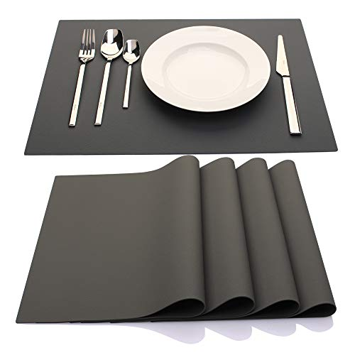 IYYI Silicone Placemats,Placemats for Kids,Set of 4 Waterproof Heat Resistant Non-Slip Kitchen Table Mats for Dining Table, Easy to Clean (Dark Gray)