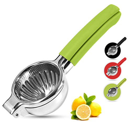 Playoos Lemon Squeezer Stainless Steel,Manual Fruit Juicer ,3.35 Inch Large Bowl Citrus Press, Squeezer Juicer with Food Grade Green Silicone Handles,Large Hand Juicer Citrus Squeezer Lime Squeezer