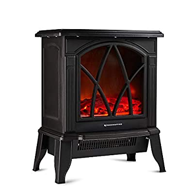 Freestanding Portable Electric Stove Heater - 2000W Indoor Fireplace with Wood Log Burning Flame Effect - Adjustable Thermostat & Overheat Protection - Black