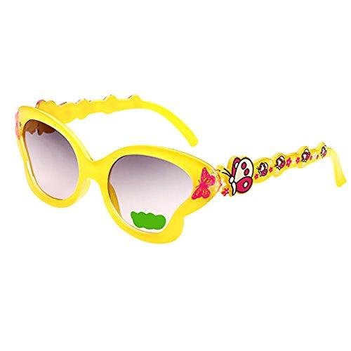 SM SunniMix Estilo Mariposa Chicas Bebés de Dibujos Animados Niños Gafas de Sol Al Aire Libre - Amarillo