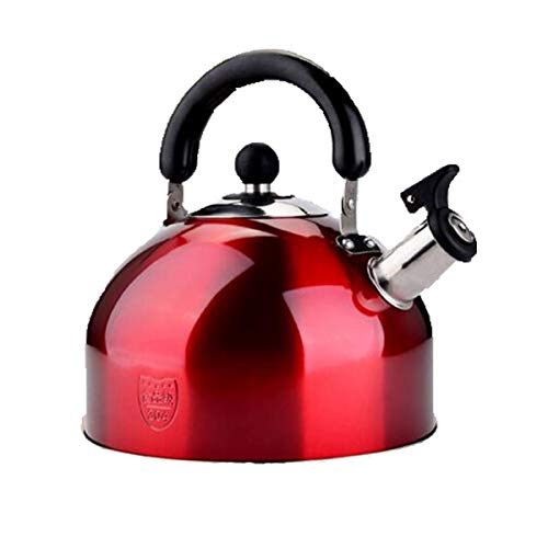 Kettle,Teapot, Coffee Maker,Stainless Steel Kettle,4L / 5L / 6L Whistling Teapot,Large Capacity ,Best Gift,gas Cooker Universal Kettle,Silver And Red (Color : Red, Size : 6L)