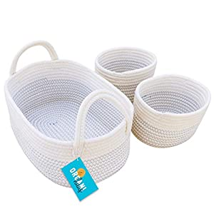 OrganiHaus Set of 3 Mini Woven Cotton Rope Nursery Baskets with Handles, Decorative Baby Room Storage Organizer Bin for Toys, Diapers, Crafts, Clothes, and Laundry, Cute Rustic Decor Toy Basket