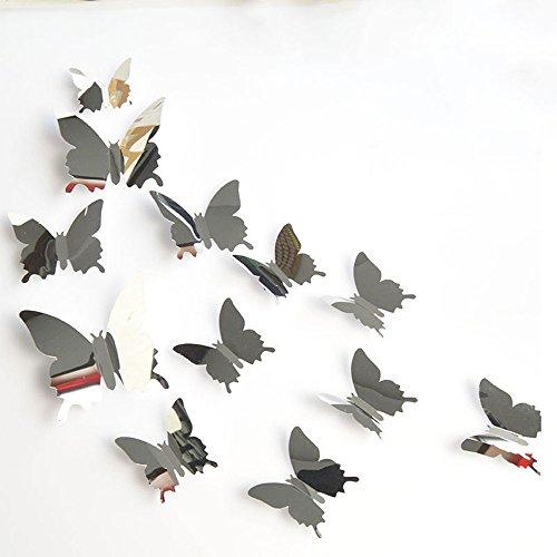 Hunpta@ 12 Stück 3D Schmetterling Spiegel Wandaufkleber Aufkleber DIY Moderne Kunst Deko Acryl Spiegel Selbstklebend Wandsticker Wandtatoo Wohnzimmer Schlafzimmer Wanddeko Haus Dekoration