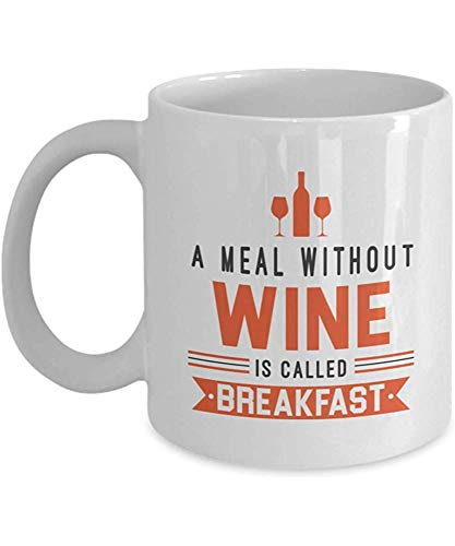 Porselein Mok Een Maaltijd Zonder Wijn wordt genoemd Ontbijt Grappige Keramische Novelty Koffie Thee Cadeaumok Accessoires en Decor voor Een Sommelier Wijnliefhebber Of Drinker Cook 11oz