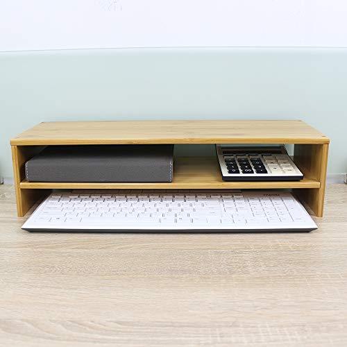 EMIEデスクトップシェルフ竹製キーボード収納2段式の収納モニターパソコン台机上オフィス視線対策卓上収納片付け整理竹目(ナチュラル)机上台机上ラックモニター台幅500mm机上収納ブラック