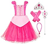 Okidokiyo Little Girls Princess Costume Halloween Party Dress Up (Toddler Pink with Accessories, 2T)