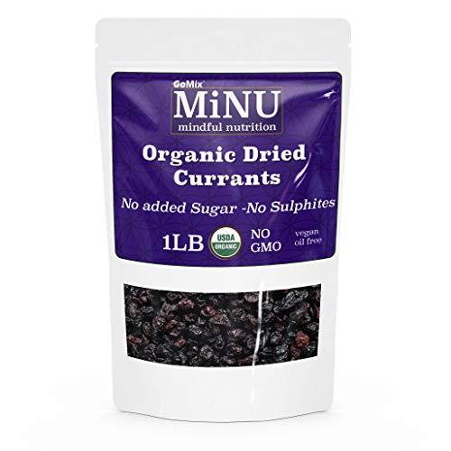 MiNU Organic Raw Zante Black Currants (16 oz (1 lb) #1 Paleo snack Seedless, MiNU Mindful Nutrition, No Sulfur, No Added Sugar, Dried, Superfood, Raw, Paleo, Vegan, NonGMO, Gluten Free gomix