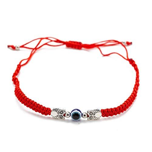 Nobrand Pulsera Hecha A Mano De Cuerda Trenzada Roja con Doble Búho Turco Mal De Ojo Pulsera para Protección Hombres Mujeres Joyería Amuleto