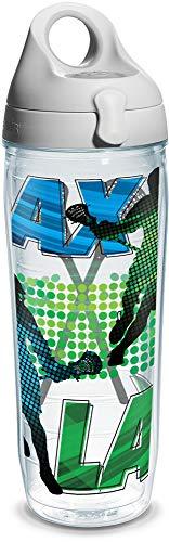 Tervis Lacrosse Logo Water Bath Wrap Water Bottle with Grey Water Bath Lid, 24 oz, Clear