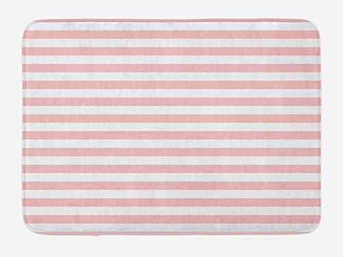 Lunarable Blush Bath Mat, Retro Style Pastel Colored Pink Stripes on White Background Vintage Geometric Design, Plush Bathroom Decor Mat with Non Slip Backing, 29.5