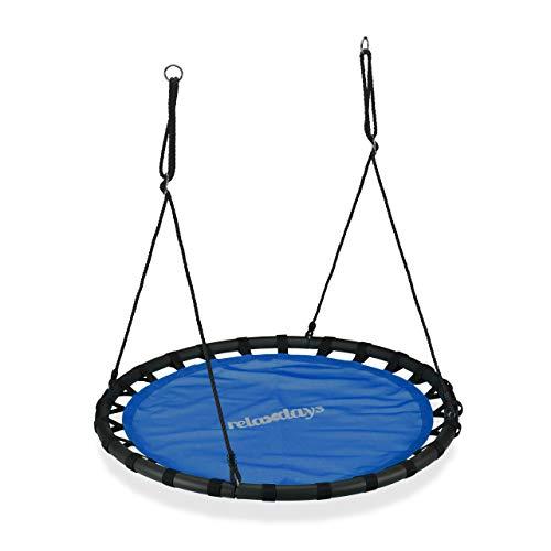 Relaxdays Columpio Jardín Redondo Ajustable para Niños y Adultos, hasta 100 kg, Azul, ø 120 cm