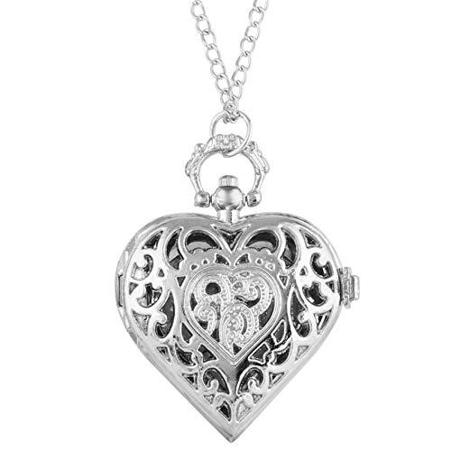 DSHUJC Pocket watch, Romantic Heart Shape Quartz Pocket Watch Bronze/Silver/Black Necklace Pendant Chain Ladies Watch Souvenir Gifts for Girls Women