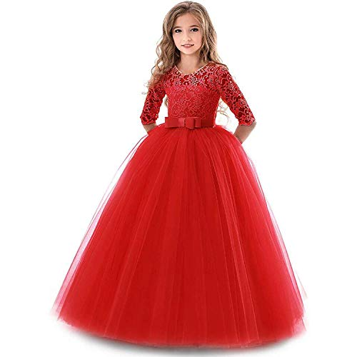 TTYAOVO Girls Embroidered Prom Gowns Luxury Wedding Birthday Party Princess Long Dresses Size(160) 12-13 Years Red