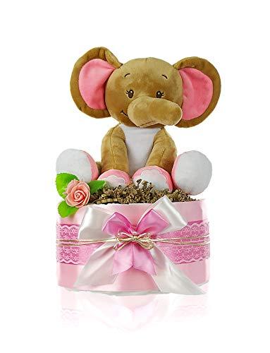 dubistda© Windeltorte Mädchen LITTLE PEANUT + große Elefanten Spieluhr | Geschenk für Mädchen zur Geburt Babyparty Babyshower (rosa)