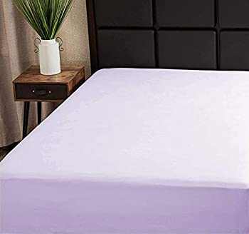 Superity Linen Fitted Sheet Twin Lavender 100% Cotton Hypoallergenic and Breathable Cool and Comfortable Machine Wash and Dry  Twin Size - Lavender