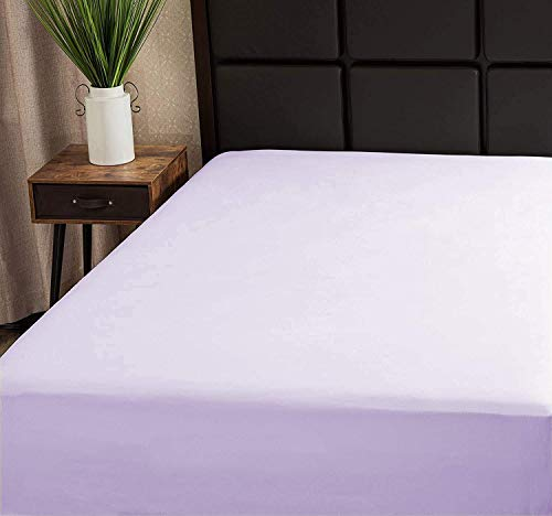 Superity Linen Fitted Sheet Queen Lavender 100% Cotton, Hypoallergenic and Breathable, Cool and Comfortable, Machine Wash and Dry (Queen Size - Lavender)