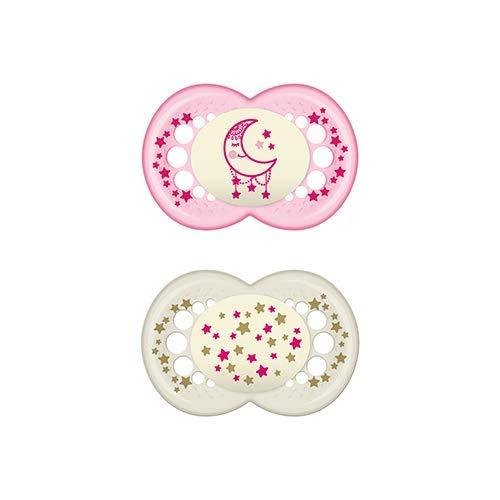 MAM Original Night S176 Schnuller mit Latex-Sauger für Babys ab 16 Monaten, leuchtet im Dunkeln - rosa (2 Stück) mit selbststerilisierender Box