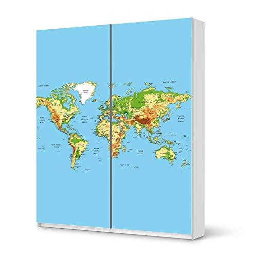 Wandtattoo Möbel passend für IKEA Pax Schrank 236 cm Höhe - Schiebetür I Möbelaufkleber - Möbel-Tattoo Sticker Aufkleber I Wohnen und Dekorieren für Schlafzimmer - Design: Geografische Weltkarte