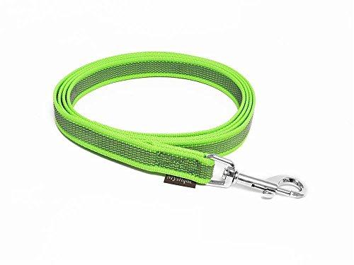 Mystique® Gummierte Leine 20mm ohne Handschlaufe Standard Karabiner neon grün 2m