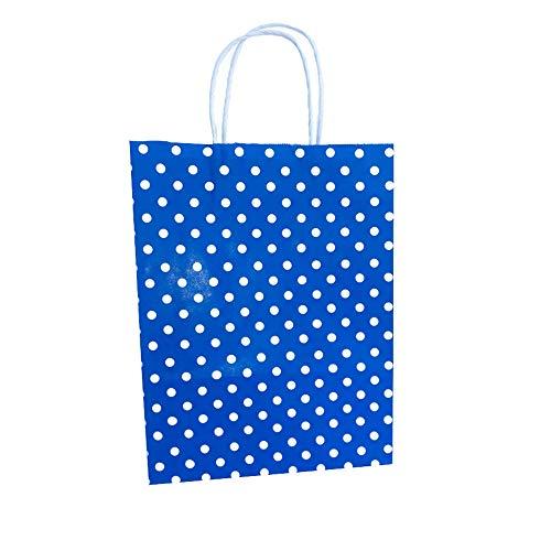 Kreuser Verpackungen 2500 Stück Papiertragetaschen 240x310x100mm Blau gepunktet mit Kordelgriffen