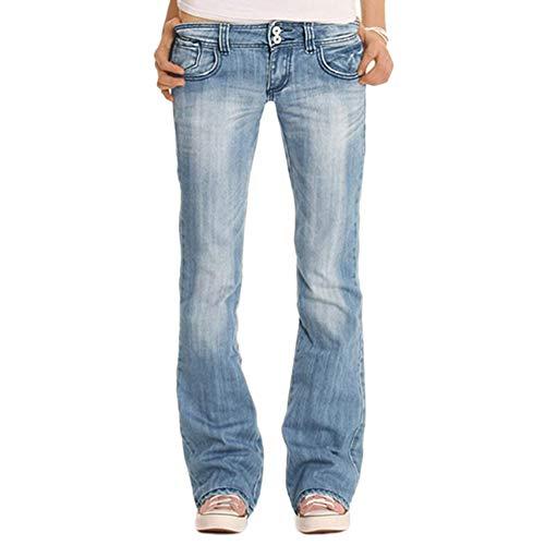 YOUCAI Mujer Pantalones de Talle Bajo Bootcut Vaqueros Retro Flared Jeans Slim Fit Holgados Pantalones Largos Pantalones de Mezclilla,Azul 2,S