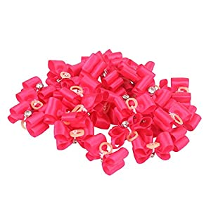 Traumdeutung Dog Hair Bows with Rubber Bands for Small Dogs Pet Grooming Accessories Pack of 20pcs/50pcs (hot Pink, 50pcs)