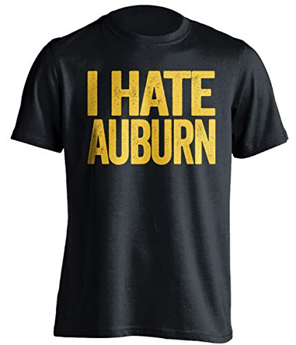 I Hate Auburn - Funny Smack Talk Shirt - Purple and Gold Version - Text Design - Black - XL